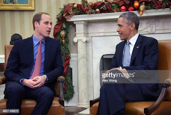 S President Barack Obama meets with Prince William Duke of Cambridge in the Oval Office of the White House December 8 2014 in Washington DC Prince...