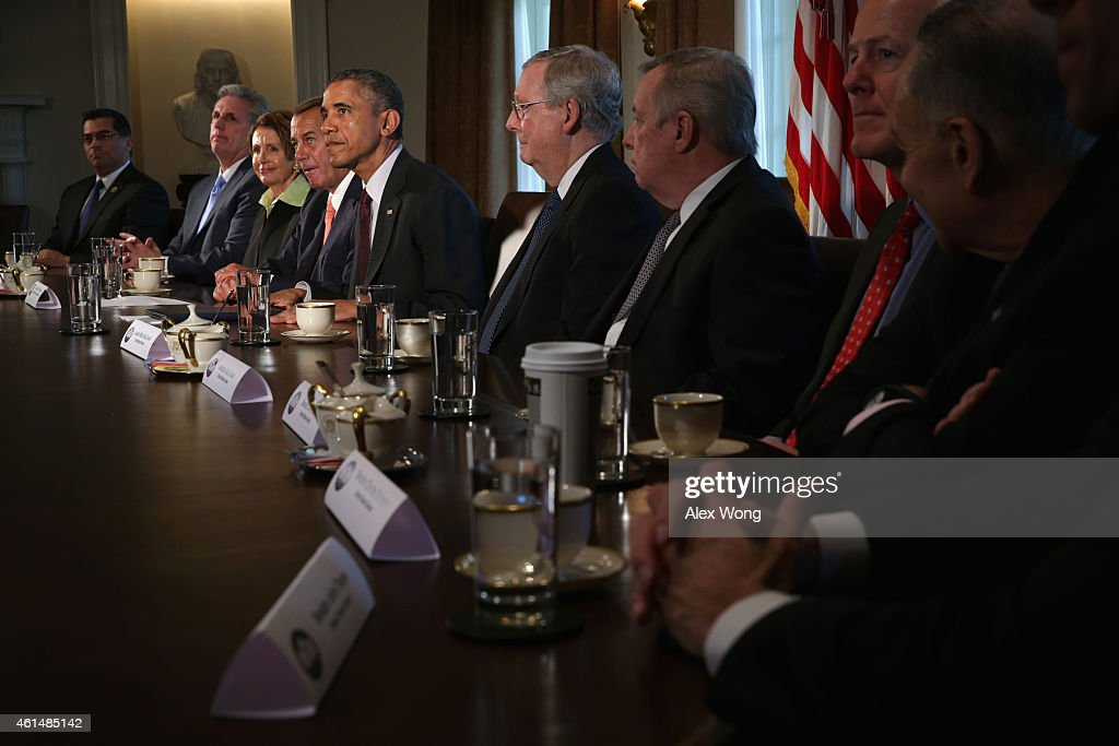 U.S. President Barack Obama (5th L) meets with (L-R) Rep. Xavier Becerra, House Majority Leader Rep. Kevin McCarthy (R-CA), House Minority Leader Rep. Nancy Pelosi (D-CA), Speaker of the House Rep. John Boehner (R-OH), Senate Majority Leader Sen. Mitch McConnell (R-KY), Senate Minority Whip Sen. Richard Durbin (D-IL), Senate Majority Whip Sen. John Cornyn (R-TX) and Sen. Charles Schumer (D-NY) in the Cabinet Room of the White House January 13, 2015 in Washington, DC. President Obama met with congressional leaders to discuss issues including the economy and the national's security.