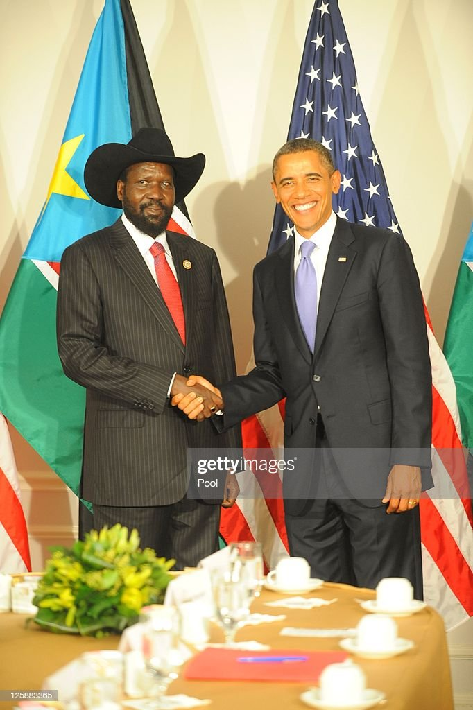 U.S. President <a gi-track='captionPersonalityLinkClicked' href=/galleries/search?phrase=Barack+Obama&family=editorial&specificpeople=203260 ng-click='$event.stopPropagation()'>Barack Obama</a> meets with South Sudan President <a gi-track='captionPersonalityLinkClicked' href=/galleries/search?phrase=Salva+Kiir+Mayardit&family=editorial&specificpeople=2629283 ng-click='$event.stopPropagation()'>Salva Kiir Mayardit</a> at the Waldorf Astoria Hotel September 21, 2011 in New York City. World leaders have converged on Manhattan for the annual opening of the United Nations General Assembly.