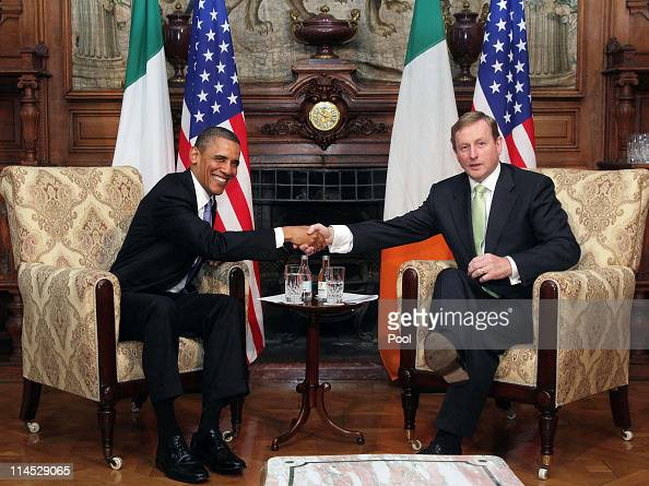 President Barack Obama meets with Taoiseach Enda Kenny at Farmleigh where the two held talks on May 23 2011 in Dublin Ireland US President Obama is...