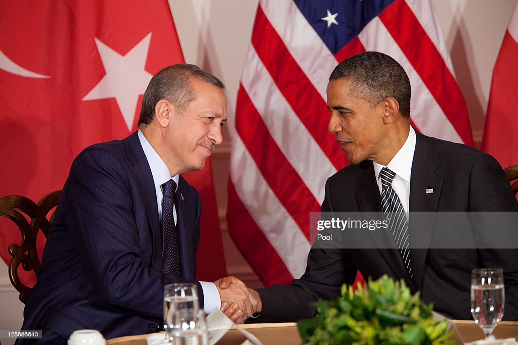 U.S. President <a gi-track='captionPersonalityLinkClicked' href=/galleries/search?phrase=Barack+Obama&family=editorial&specificpeople=203260 ng-click='$event.stopPropagation()'>Barack Obama</a> (R) meets with Turkish Prime Minister <a gi-track='captionPersonalityLinkClicked' href=/galleries/search?phrase=Recep+Tayyip+Erdogan&family=editorial&specificpeople=213890 ng-click='$event.stopPropagation()'>Recep Tayyip Erdogan</a> in a bilateral meeting during the United Nations General Assembly September 20, 2011 in New York City. The 66th session of United Nations General Assembly kicks off September 21, with leaders from around the world attending.