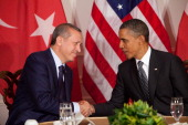 S President Barack Obama meets with Turkish Prime Minister Recep Tayyip Erdogan in a bilateral meeting during the United Nations General Assembly...