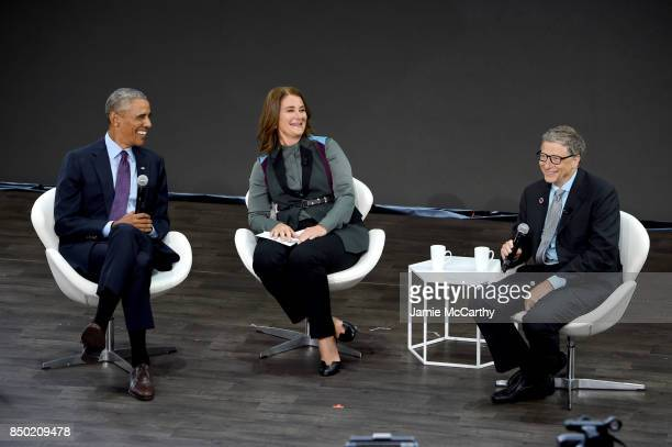 President Barack Obama Melinda Gates and Bill Gates speak at Goalkeepers 2017 at Jazz at Lincoln Center on September 20 2017 in New York City...
