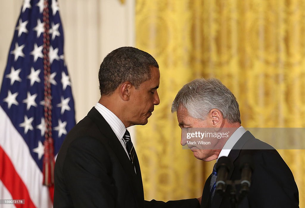 U.S. President Barack Obama (L) nominates former U.S. Sen. Chuck Hagel (R-NE) (R) to be Defense Secretary during an event in the East Room at the White House on January 7, 2013 in Washington, DC. Pending approval by the Senate, the nomination of former U.S. Sen. Chuck Hagel (R-NE) as Secretary of Defense will replace Leon Panetta.