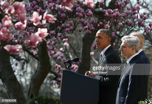 President Barack Obama nominates Judge Merrick B Garland to the US Supreme Court in the Rose Garden at the White House March 16 2016 in Washington DC...