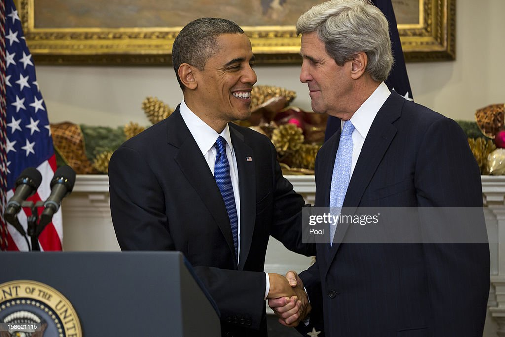 U.S. President Barack Obama (L) nominates Sen. John Kerry (D-MA) to be the next Secretary of State in the Roosevelt Room of the White House December 21, 2012 in Washington, DC. If confirmed, Kerry will replace retiring Secretary of State Hillary Clinton early in 2013.