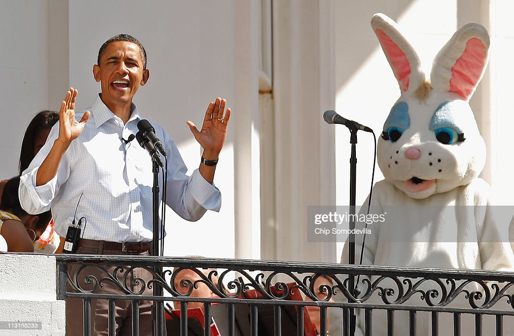US President Barack Obama officially opens the White House Easter Egg Roll on the South Lawn of the White House April 25 2011 in Washington DC About...