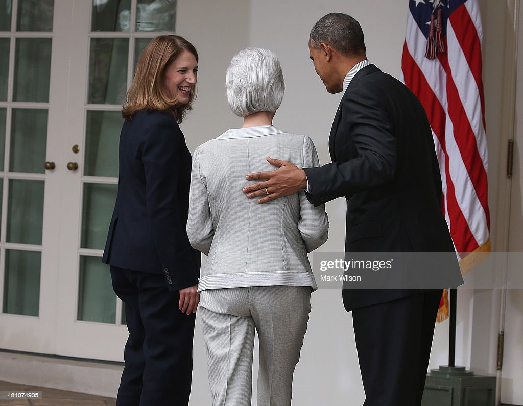 U.S. President <a gi-track='captionPersonalityLinkClicked' href=/galleries/search?phrase=Barack+Obama&family=editorial&specificpeople=203260 ng-click='$event.stopPropagation()'>Barack Obama</a> (R), outgoing Health and Human Services Secretary <a gi-track='captionPersonalityLinkClicked' href=/galleries/search?phrase=Kathleen+Sebelius&family=editorial&specificpeople=700528 ng-click='$event.stopPropagation()'>Kathleen Sebelius</a> (C) and Director of the White House Office of Management and Budget <a gi-track='captionPersonalityLinkClicked' href=/galleries/search?phrase=Sylvia+Mathews+Burwell&family=editorial&specificpeople=7165922 ng-click='$event.stopPropagation()'>Sylvia Mathews Burwell</a> (L) walk away after an event in the Rose Garden at the White House, on April 11, 2014 in Washington, DC. President Obama announced his nomination of Burwell to replace Secretary Sebelius.