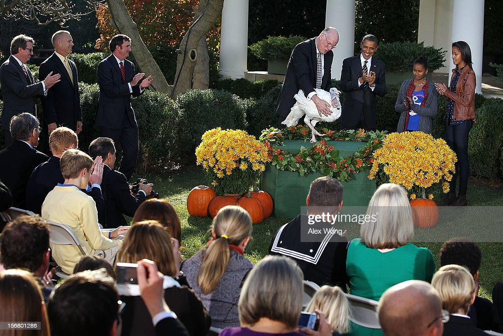 U.S. President Barack Obama (2nd L) pardons the 2012 National Thanksgiving Turkey Cobbler as daughters Sasha Obama (3rd L) and Malia Obama (R), and National Turkey Federation Chairman Steve Willardsen (L) look on during a Rose Garden event November 21, 2012 at the White House in Washington, DC. Cobbler and its companion Gobbler will spend the rest of their lives at George Washington's Mount Vernon Estate and Gardens in Virginia.