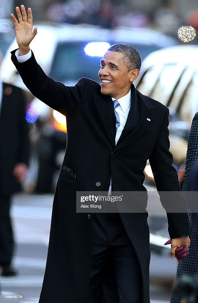 U.S. President Barack Obama participates during the inaugural parade on Pennsylvania Avenue January 21, 2013 in Washington, DC. Barack Obama was re-elected for a second term as President of the United States.