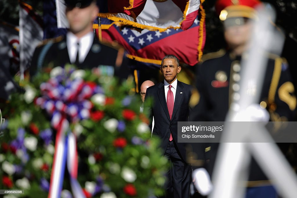 S President Barack Obama participates in a full honor wreathlaying ceremony at the Tomb of the Unknown Soldier at Arlington National Cemetery to...