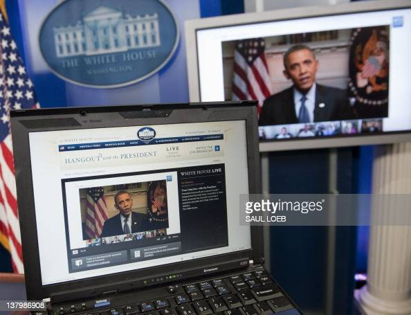 US President Barack Obama participates in an interview with YouTube and Google from the Roosevelt Room of the White House in Washington DC January 30...