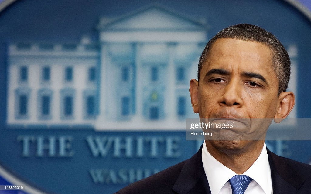 U.S. President <a gi-track='captionPersonalityLinkClicked' href=/galleries/search?phrase=Barack+Obama&family=editorial&specificpeople=203260 ng-click='$event.stopPropagation()'>Barack Obama</a> pauses during a news conference in the Brady Press Briefing Room at the White House in Washington, D.C., U.S., on Monday, July 11, 2011. Obama said he will continue to press congressional leaders for 'the largest possible deal' on a package of significant deficit cuts. Photographer: Joshua Roberts/Bloomberg via Getty Images