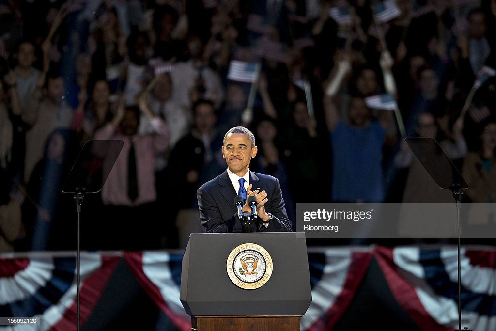 U.S. President Barack Obama pauses during an election night rally in Chicago, Illinois, U.S., in the early morning on Wednesday, Nov. 7, 2012. Obama, the post-partisan candidate of hope who became the first black U.S. president, won re-election today by overcoming four years of economic discontent with a mix of political populism and electoral math. Photographer: Daniel Acker/Bloomberg via Getty Images