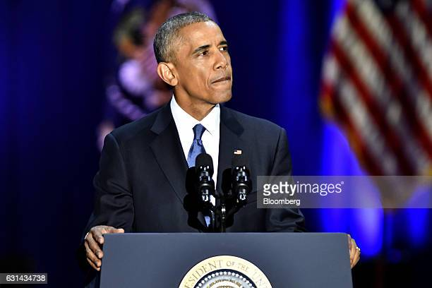 US President Barack Obama pauses during his farewell address in Chicago Illinois US on Tuesday Jan 10 2017 Obama blasted 'zerosum' politics as he...