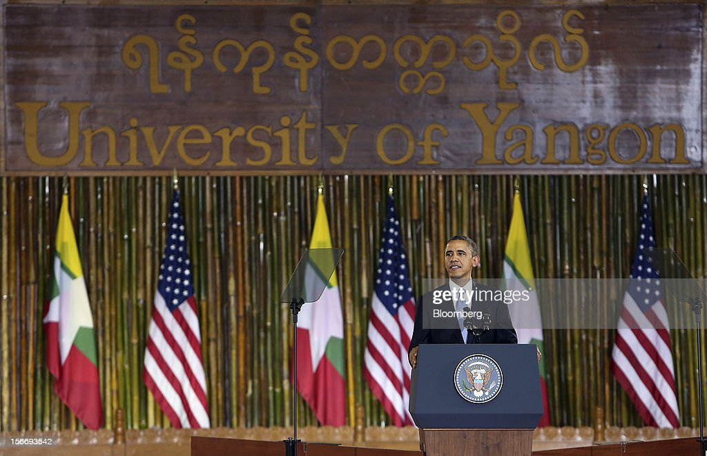 U.S. President Barack Obama pauses during his speech at the University of Yangon in Yangon, Myanmar, on Monday, Nov. 19, 2012. Obama hailed Myanmar's shift to democracy and urged more steps to increase freedom in the first visit to the former military regime by a U.S. president. Photographer: Dario Pignatelli/Bloomberg via Getty Images
