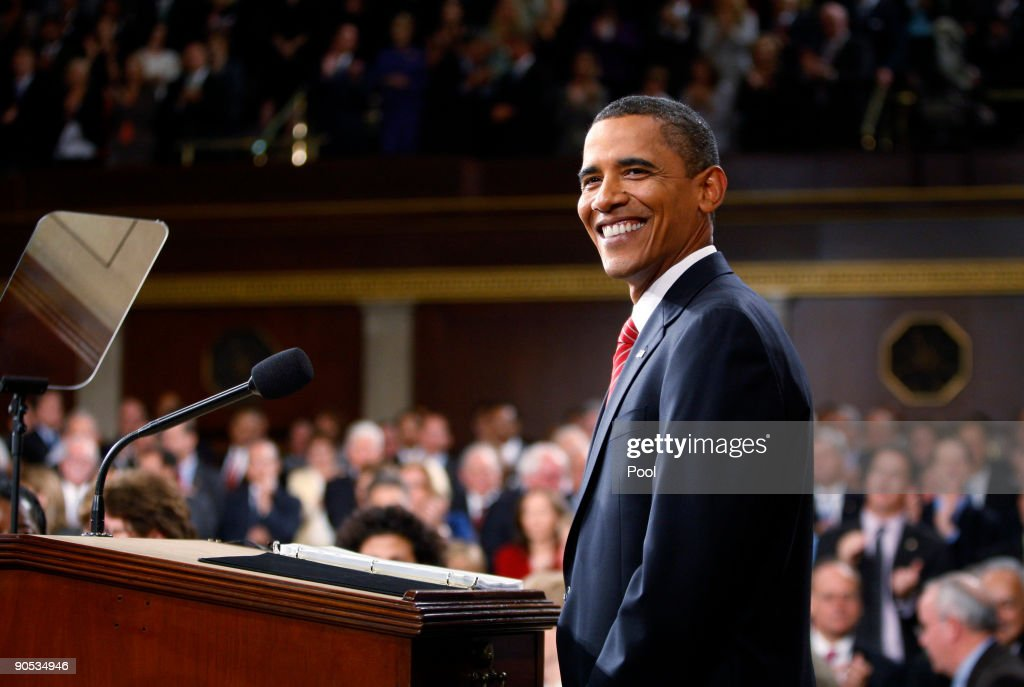 U.S. President <a gi-track='captionPersonalityLinkClicked' href=/galleries/search?phrase=Barack+Obama&family=editorial&specificpeople=203260 ng-click='$event.stopPropagation()'>Barack Obama</a> pauses while addressing a joint session of the U.S. Congress at the U.S. Capitol September 9, 2009 in Washington, DC. Obama addressed the joint session to urge passage of his national health care plan, the centerpiece of his domestic agenda.