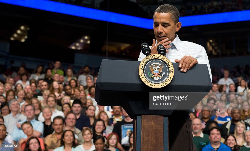 US President <a gi-track='captionPersonalityLinkClicked' href=/galleries/search?phrase=Barack+Obama&family=editorial&specificpeople=203260 ng-click='$event.stopPropagation()'>Barack Obama</a> pauses while speaking about healthcare reform during a rally at the Target Center in Minneapolis, Minnesota, September 12, 2009. AFP PHOTO / Saul LOEB