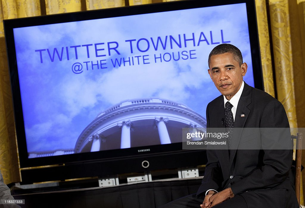 U.S. President <a gi-track='captionPersonalityLinkClicked' href=/galleries/search?phrase=Barack+Obama&family=editorial&specificpeople=203260 ng-click='$event.stopPropagation()'>Barack Obama</a> pauses while speaking during an online Twitter town hall meeting from the East Room of the White House July 6, 2011 in Washington, DC. Obama and Twitter co-founder and Executive Chairman Jack Dorsey held the online discussion to speak about the U.S .debt ceiling crisis.