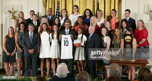 S President Barack Obama poses for a picture with the 2015 NCAA Women's Basketball Champion University of Connecticut Huskies during a ceremony in...