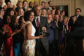 S President Barack Obama poses for photographs with 2016 National Teacher of the Year Jahana Hayes of John F Kennedy High School in Waterbury CT...