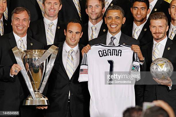 S President Barack Obama poses for photographs with the Major League Soccer champions Los Angeles Galaxy including General Manager and Head Coach...