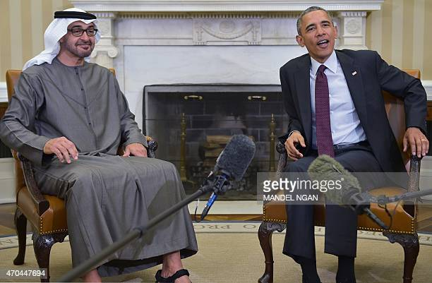 US President Barack Obama poses with the Crown Prince of Abu Dhabi Sheikh Mohammed bin Zayed alNahyan in the Oval Office of the White House on April...
