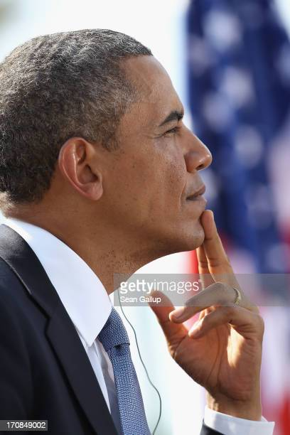 S President Barack Obama prepares to speak at the Brandenburg Gate on June 19 2013 in Berlin Germany Obama is visiting Berlin for the first time...