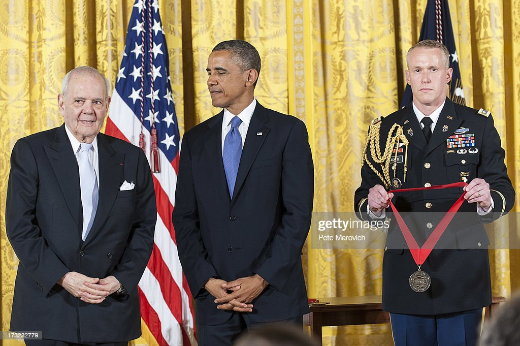 U.S. President Barack Obama presents a 2012 National Humanities Medal to Robert B. Silvers during a ceremony in the East Room of the White House on July 10, 2013 in Washington, DC. Silvers, editor and co-founder of The New York Review of Books, is recognized for offering critical perspectives on writing.