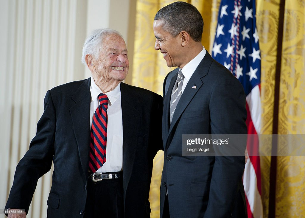 President Barack Obama presents Dr. Berry Brazelton with the 2012 Presidential Citizens Medal at the White House on February 15, 2013 in Washington, DC.