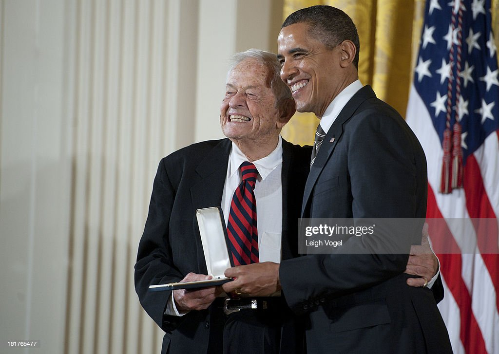 President <a gi-track='captionPersonalityLinkClicked' href=/galleries/search?phrase=Barack+Obama&family=editorial&specificpeople=203260 ng-click='$event.stopPropagation()'>Barack Obama</a> presents Dr. Berry Brazelton with the 2012 Presidential Citizens Medal at the White House on February 15, 2013 in Washington, DC.