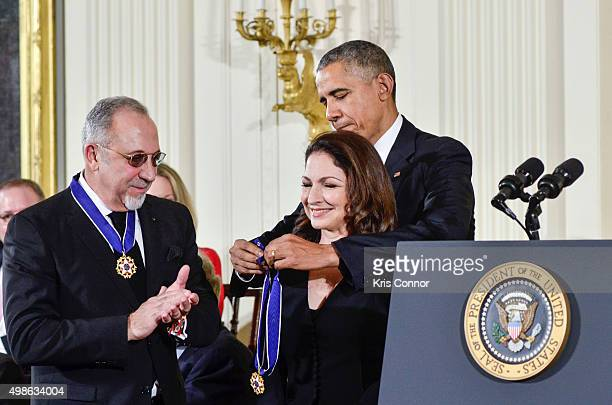 President Barack Obama presents Emilio Estefan and Gloria Estefan with Presidential Medals of Freedom during the 2015 Presidential Medal Of Freedom...