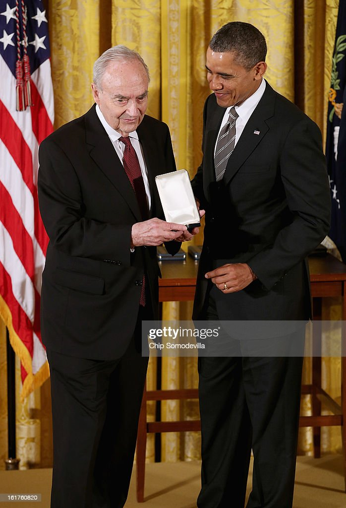 U.S. President Barack Obama presents former Sen. Harris Wofford (D-PA) with the 2012 Presidential Citizens Medal, the nation's second-highest civilian honor, in the East Room of the White House February 15, 2013 in Washington, DC. 'Their selflessness and courage inspire us all to look for opportunities to better serve our communities and our country,' Obama said about this year's recepients.