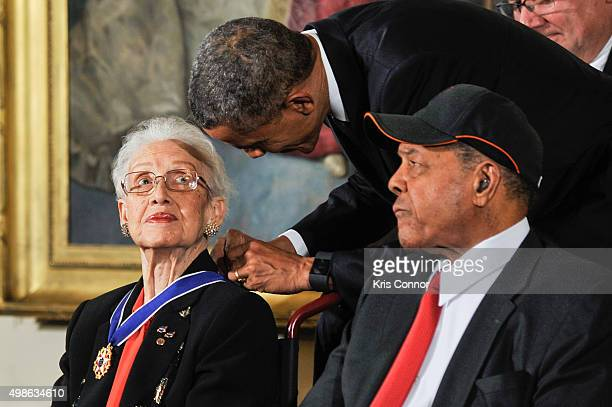 President Barack Obama presents Katherine G Johnson with the Presidential Medal of Freedom during the 2015 Presidential Medal Of Freedom Ceremony at...