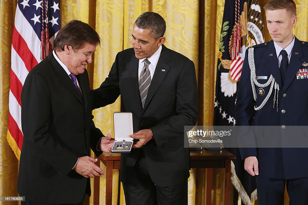 U.S. President Barack Obama presents Running Strong for American Indian Youth founder and Olympian Billy Mills with the 2012 Presidential Citizens Medal, the nation's second-highest civilian honor, in the East Room of the White House February 15, 2013 in Washington, DC. 'Their selflessness and courage inspire us all to look for opportunities to better serve our communities and our country,' Obama said about this year's recepients.