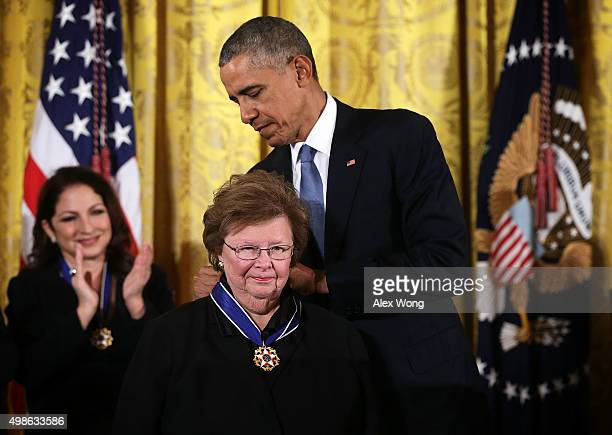 S President Barack Obama presents the Presidential Medal of Freedom to US Sen Barbara Mikulski during an East Room ceremony November 24 2015 at the...