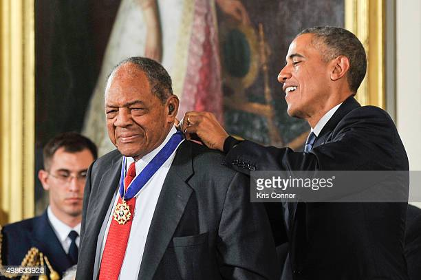 President Barack Obama presents Willie Mays with Presidential Medal of Freedom during the 2015 Presidential Medal Of Freedom ceremony at the White...