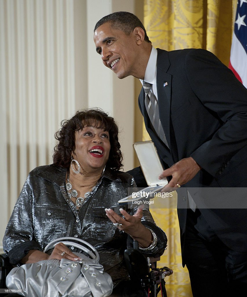 President <a gi-track='captionPersonalityLinkClicked' href=/galleries/search?phrase=Barack+Obama&family=editorial&specificpeople=203260 ng-click='$event.stopPropagation()'>Barack Obama</a> presents Women Embracing Abilities Now founder Janice Yvette Jackson with the 2012 Presidential Citizens Medal at the White House on February 15, 2013 in Washington, DC.