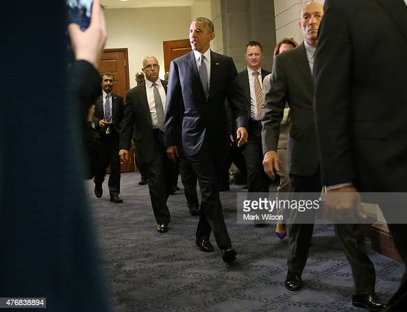 President Barack Obama President Obama departs from a meeting with House Democrats on Capitol Hill June 12 2015 in Washington DC President Obama...