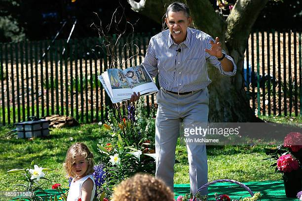 S President Barack Obama read to children from the book 'Where the Wild Things Are' during the annual White House Easter Egg Roll on the South Lawn...