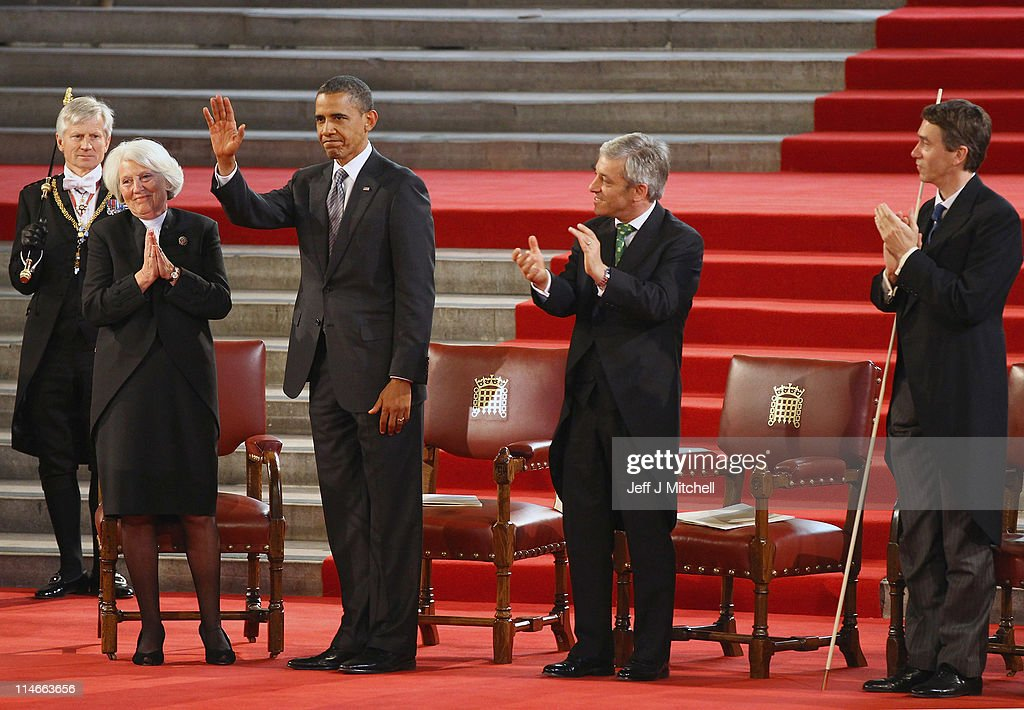 U.S. President <a gi-track='captionPersonalityLinkClicked' href=/galleries/search?phrase=Barack+Obama&family=editorial&specificpeople=203260 ng-click='$event.stopPropagation()'>Barack Obama</a> receives applause after delivering his speech to members of Parliament in Westminster Hall on May 25, 2011 in London, England. The 44th President of the United States, <a gi-track='captionPersonalityLinkClicked' href=/galleries/search?phrase=Barack+Obama&family=editorial&specificpeople=203260 ng-click='$event.stopPropagation()'>Barack Obama</a>, and First Lady Michelle are in the UK for a two day State Visit at the invitation of HM Queen Elizabeth II. Last night they attended a state banquet at Buckingham Palace and today's events include talks at Downing Street and the President will address both houses of Parliament at Westminster Hall.