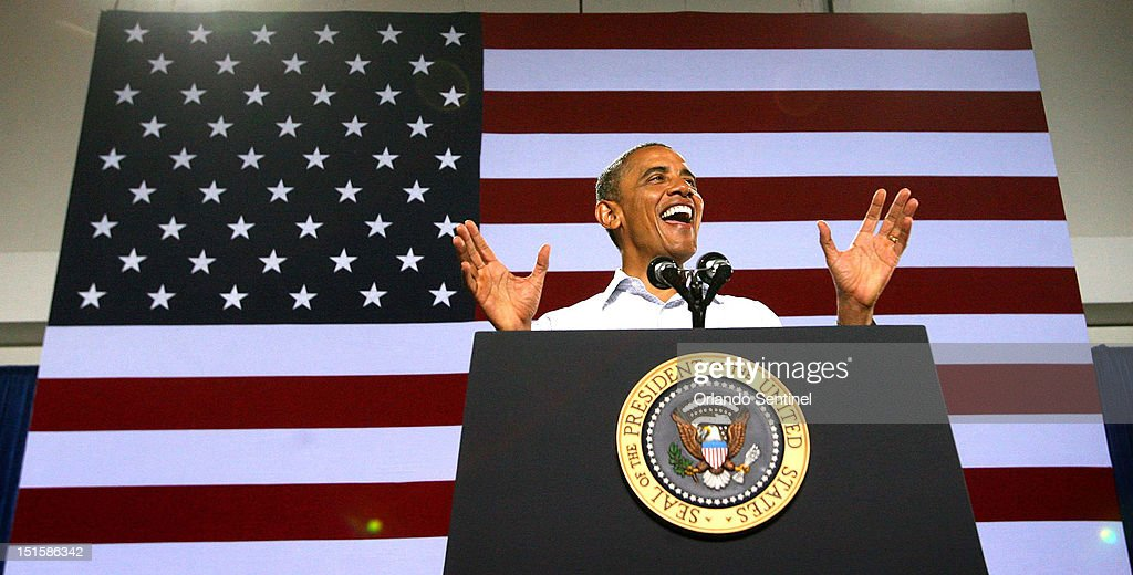 President Barack Obama responds to cheering supporters during a rally at the Kissimmee Civic Center in Kissimmee Florida Saturday September 8 2012...