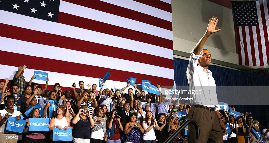 President Barack Obama responds to cheering supporters during a rally at the Kissimmee Civic Center in Kissimmee Florida Saturday September 8 2012