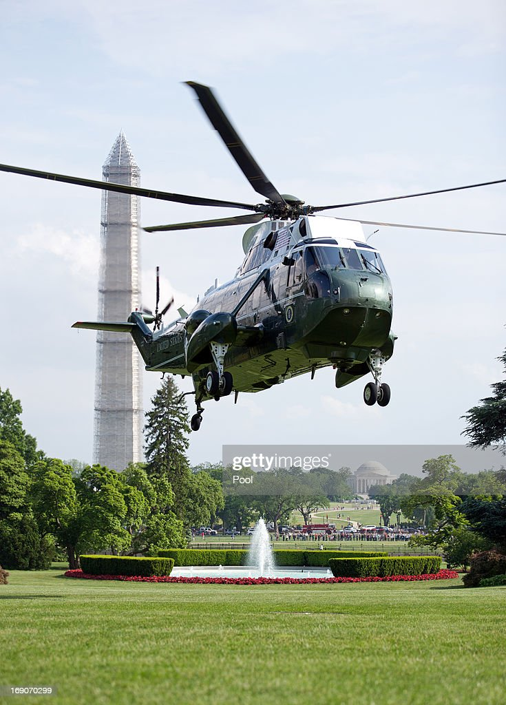 U.S. President Barack Obama returns to the South Lawn of the White House aboard Marine One following a day-trip to Atlanta on May 19, 2013 in Washington, DC. Obama delivered the commencement address at Morehouse College and attended a fundraiser for Sen. Michael Bennet during his trip.