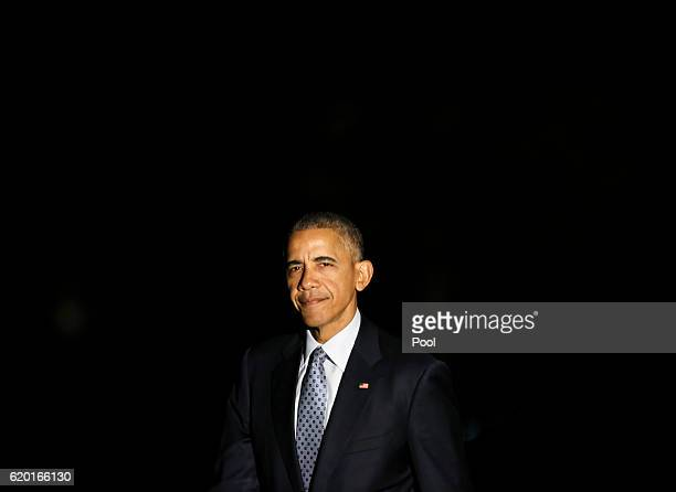 S President Barack Obama returns to the White House November 1 2016 in Washington DC The president was returning from a campaign event for Democratic...