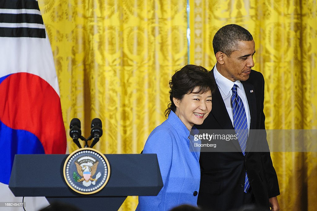 U.S. President <a gi-track='captionPersonalityLinkClicked' href=/galleries/search?phrase=Barack+Obama&family=editorial&specificpeople=203260 ng-click='$event.stopPropagation()'>Barack Obama</a>, right, exits with Park Geun Hye, president of South Korea, after a press conference in the East Room of the White House in Washington, D.C., U.S., on Tuesday, May 7, 2013. Obama and Park are seeking to demonstrate a solid front in the face of threats from North Korea and broader tensions in the region. Photographer: Pete Marovich/Bloomberg via Getty Images