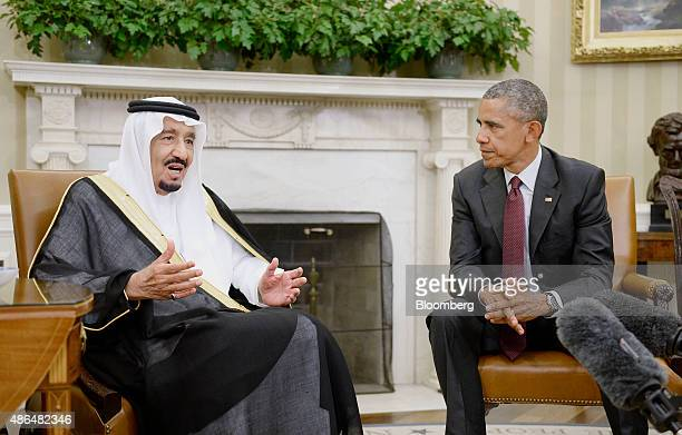 US President Barack Obama right listens as King Salman bin Abdulaziz Al Saud of Saudi Arabia speaks during a meeting in the Oval Office at the White...