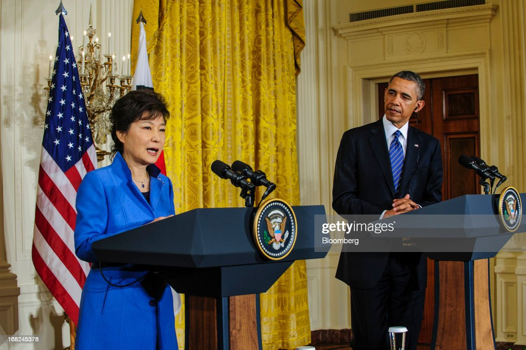U.S. President <a gi-track='captionPersonalityLinkClicked' href=/galleries/search?phrase=Barack+Obama&family=editorial&specificpeople=203260 ng-click='$event.stopPropagation()'>Barack Obama</a>, right, listens as Park Geun Hye, president of South Korea, speaks during a press conference in the East Room of the White House in Washington, D.C., U.S., on Tuesday, May 7, 2013. Obama and Park are seeking to demonstrate a solid front in the face of threats from North Korea and broader tensions in the region. Photographer: Pete Marovich/Bloomberg via Getty Images