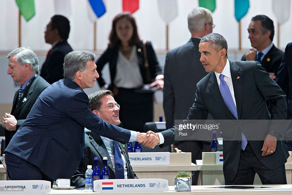 U.S. President Barack Obama, right, shakes hands with Mauricio Macri, Argentina's president, during an opening plenary entitled 'National Actions to Enhance Nuclear Security' at the Nuclear Security Summit on April 1, 2016 in Washington, D.C., U.S. After a spate of terrorist attacks from Europe to Africa, Obama is rallying international support during the summit for an effort to keep Islamic State and similar groups from obtaining nuclear material and other weapons of mass destruction.