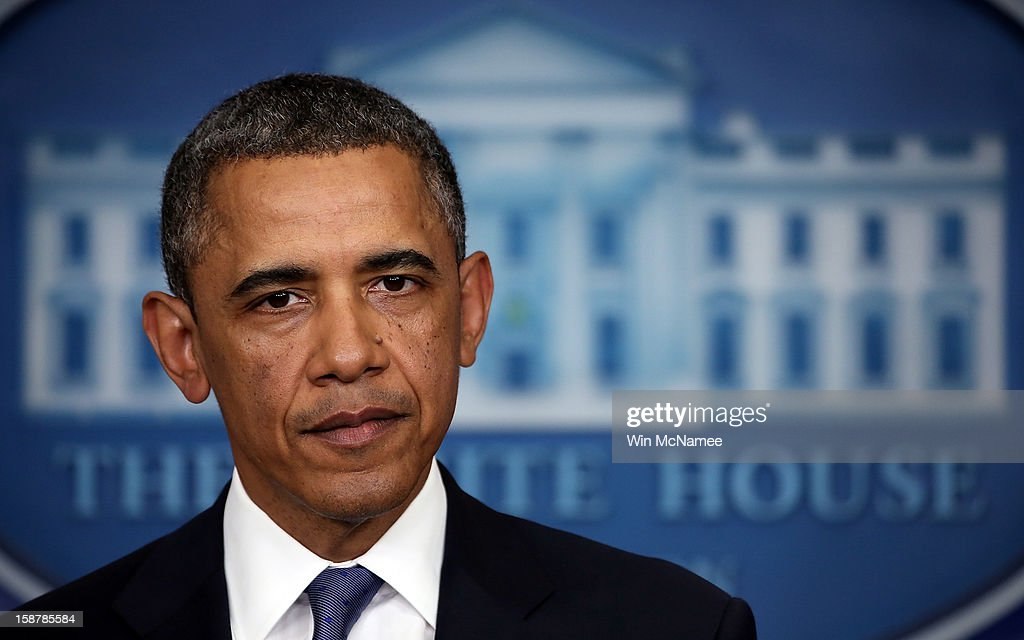 U.S. President <a gi-track='captionPersonalityLinkClicked' href=/galleries/search?phrase=Barack+Obama&family=editorial&specificpeople=203260 ng-click='$event.stopPropagation()'>Barack Obama</a> said he was 'modestly optimistic' while making a statement on fiscal cliff negotiations following a meeting with Congressional leaders at the White House December 28, 2012 in Washington, DC. Obama and members of Congress continue to seek a solution to avert the possibility of large tax increases combined with deep spending cuts also known as the 'fiscal cliff'.
